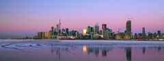 Toronto Skyline Frozen - 0419 (RG Rutkay) Tags: harbour lakeontario toronto architecture cityscape cold earlymorning winter reflections panorama fireboat icebreaker