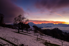 earth, fire and sky (felipeepu) Tags: nature elements earth sun sky clouds fog trees colorful mountains firmament stars moon snow