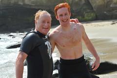 Mark and Eliot Goldfarb (Chris Hunkeler) Tags: markgoldfarb bib75 eliotgoldfarb bib409 piertocoveswim redhead shirtless young athlete swimmer ginger father son