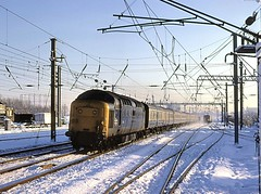 Dashing through the snow......... (Yeovil Town) Tags: deltic class55 55016 woodgreen kingscross york