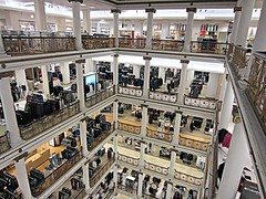 (AmyEAnderson) Tags: chicago illinois downtown indoor macys marshall field store floors levels etages railings historic vintage squares geometric shapes merchandise selling floor