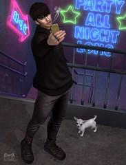 . EohB . #Taketomi #Catwa #Straydog #Etham #Kalback #ValeKoer #L'etre #Contraption (Crayolas Clothes) Tags: avatar taketomi catwa straydog etham kalback valekoer letre contraption gay guy boy boys street stairs neonlights neon lighst photoshop ps sl slblog slfashionblog secondlife newyear janaury 2018 year new black jean chinos sweater asian goldphone