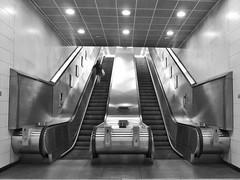 7(( 8))  (Douguerreotype) Tags: monochrome underground city bw uk metro escalator british mono stairs blackandwhite tunnel britain urban subway london gb england people steps tube