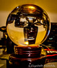 Day 3. (lizzieisdizzy) Tags: glass globe orb reflection mystic canon camera upsidedown table tabletop inside indoors indoor woodenplinth