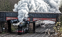 Stylised (Peter Leigh50) Tags: steam railway 5043 train locomotive winter cold december