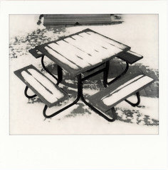 untitled (kaumpphoto) Tags: polaroid instant spectra table snow seat monochrome brick wood contrast board cold picnic outside winter minneapolis