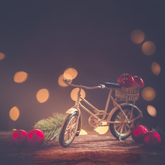 Christmas bike (Ro Cafe) Tags: bicycle bike christmas christmasornaments lights toy bokeh decoration miniature wood setup arrangement stilllife nikkormicro105f28 nikond600