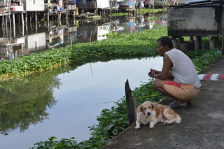 fishing with his dog