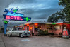 The Blue Swallow Motel (donnieking1811) Tags: newmexico tucumcari theblueswallowmotel motel building architecture automobile car pontiac 1951pontiac sign neon neonsign exterior outdoors sky clouds twilight dusk trees route66 hdr canon 60d lightroom photomatixpro