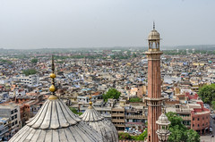 Pinacles on the Jama Masjid (Pejasar) Tags: tower turret mosque jama masjid old delhi india view city cityscape color humanity life living people bustle homes businesses sky building architecture