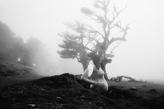 of woman (Yuliya Bahr) Tags: madeira madeiraisland fog tree love pregnant woman women girl belly portrait akt nude doubleexposure forest laurasilva portugal weather