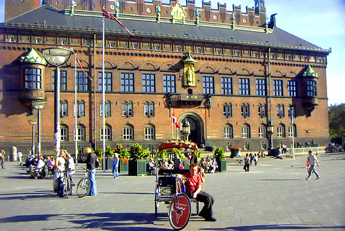 Copenhagen City Hall with the golden statue of Absalon just above the balcony