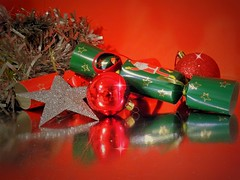 Red and Green (Clare-White) Tags: decoration xmas green red balls glitter crackers santa mpt598 matchpointwinner