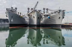 these three kings (pbo31) Tags: bayarea eastbay alamedacounty nikon d810 color december winter boury pbo31 california port alameda ferrypoint sail harbor marine ship panoramic large stitched panorama green reflection bay water 3 service thegemstate thegrandcanyonstate repair thekeystonestate