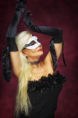 Venetian mask (DZ-fotografia (6,3 Million views, Thx!)) Tags: venetian mask feather dress black long blonde hair sexy lady woman