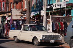 1963 Ford Falcon Ranchero 260V utility coupé - Kensington Market, Toronto. (edk7) Tags: olympuspenliteepl5 edk7 2014 canada ontario toronto kensingtonmarket heritagedistrict 1963fordfalconranchero260vutilitycoupé twodoor car auto automobile vehicle vintage classic passenger pickup city cityscape urban store people road pavement graffiti signage sign architecture building oldstructure victorian 19thcrowhouse