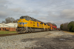 NS 23N at Rockmart (travisnewman100) Tags: norfolk southern train railroad freight intermodal stacks georgia division atlanta north district 23n union pacific emd sd70ah sd70acet4 sd70m ns up rockmart