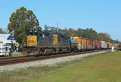 4054 + 4229, Folkston, 24 Nov 2017 (Mr Joseph Bloggs) Tags: emdsd40 emd electro motive division gm general motors railroad railway bahn georgia folkston freight cargo merci manifest treno train 4229 4054 emdsd403