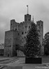 Festive Rochester Castle (daveseargeant) Tags: rochester monochrome castle medway leica x typ 113 christmas tree