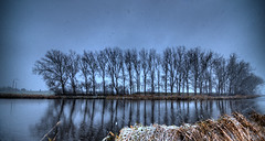 Wintery reflection. (Alex-de-Haas) Tags: 11mm d750 dutch europa europe hdr holland irix nederland nederlands netherlands nikon noordholland noordhollandschkanaal schoorldam warmenhuizen ambiance art artistic artistiek canal cold daglicht daylight kanaal kou landscape landschap neerslag precipitation professional sfeer sneeuw snow snowing water weather weer winter