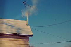 Surviving the Cold Snap (Dave Linscheid) Tags: winter house home cold chimney smoke heat texture textured powerlines butterfield watonwancounty mn minnesota usa