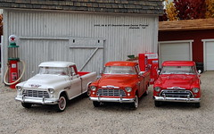 1955, 56 & 57 Chevrolet Cameo Carrier Pickups (JCarnutz) Tags: cameocarrier diecast franklinmint danburymint 1955 1956 1957 chevrolet pickuptruck