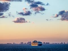 Cruise ship departing Port Everglades (Ed Rosack) Tags: usa fortlauderdale ocean ship seascape cloud msnieuwamsterdam landscape sky ©edrosack water cruise dusk florida cloudy