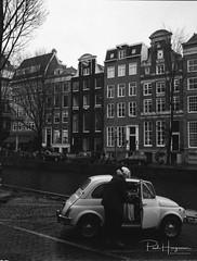 Fiat 500 @ Amsterdam (PaulHoo) Tags: fujifilm ga645 film analog blackandwhite ilford delta 400 mediumformat 645 amsterdam city people urban candid 2017 fiat 500 car vintage cityscape nostalgic building architecture