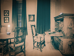 Going Old School (Steve Taylor (Photography)) Tags: daguerreotype photograph desk candle art digital architecture chair curtains light museum table tableandchairs window brown green uk gb england greatbritain unitedkingdom london texture pot picture portrait