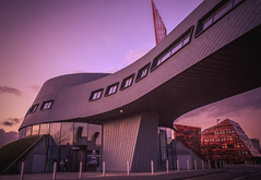 Awesome Architecture. (Ian Emerson (Trying to catch up)) Tags: nottingham nottinghamshire university architecture sunset building canon outdoor colourful modern magenta winter january 2018