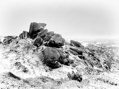 Ramshaw Rocks (3) (Andy & Helen :-) :)) Tags: andyholt ramshawrocks blackshawmoor northstaffordshire uk snow weather landscape gritstoneescarpment gritstone peakdistrict staffordshire crag blackandwhite highkey rocks