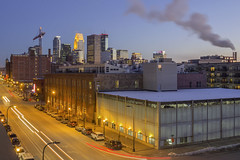 North Loop and Downtown Minneapolis (Sam Wagner Photography) Tags: downtown blue twilight hour decorative city cityscape lights car trails traffic transit transportation washington avenue long exposure steam smoke blur architecture old new skyline skyscrapers metropolis metro area midwest minneapolis urban