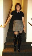 Mini Skirt with OTK boots (krislagreen) Tags: tg transgender crossdresser cd transvestite otkboots blackpatent miniskirt hose femme femminzation femininized