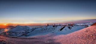 Sunset & Snow On Mauna Kea Pano 01