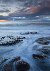 Ebb & Flow (Ade G) Tags: landscape rocks seascape coast longexposure sunset