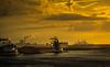 Europort (Blackburn lad1) Tags: europort sky sunset water boats boat yellow industry docks port horbour