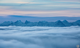 the alps in the distance