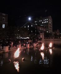 WaterFire (ArtFan70) Tags: moon fire performanceart unitedstates art america usa newengland ri rhodeisland providence downtown downtownprovidence waterplacepark evans barnabyevans waterfire