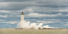 Nor'wester (Aaron Springer) Tags: michigan northernmichigan lakemichigan thegreatlakes frankfortnorthbreakwater frankfortlighthouse pier waves clouds water lighthouse weather storm gale outdoor nature seascape