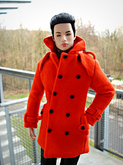 Winter coat (Deejay Bafaroy) Tags: fashion royalty fr doll puppe homme male tate integrity toys it industry tatetanaka porträt portrait outdoors draussen orange black schwarz pierredevries ladythriller coat mantel