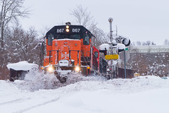 Plowing Into Conneaut (Nolan Majcher) Tags: bessemer lake erie ble emd sd38ac canadian national cn sub conneaut oh ohio