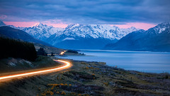 Peters Lookout (adrianchandler.com) Tags: exterior lighttrails nightphotography newzealand sunset nightscape water mountains road outdoor lake southisland nz landscape