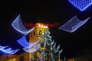 Colegiata y luces de Navidad