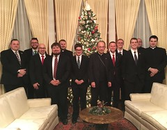 Bishop Persico hosted the Erie seminarians at his residence for dinner in anticipation of Christmas - Dec. 15, 2017.