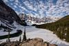 Peace Shattered (Kristin Repsher) Tags: alberta banff banffnationalpark canada canadianrockies d750 frozen morainelake nikon reflection rockies rockymountains snow spring winter