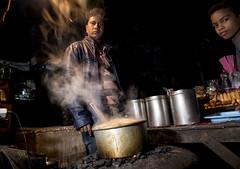 Chaiwalla (Blinkofanaye) Tags: chaiwalla chandni chowk delhi dilli street night tea steam smoke winter candd steel pots coal pollution smog india indian people