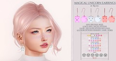 .: Runic :. Magical Unicorn Earrings (KasurStardust) Tags: earrings runic secondlife magic fantasy unicorn cute kawaii jewellery