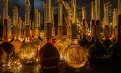 Prost  -  Cheers... (achim-51) Tags: flaschen wein vinum licht beleuchtung panasonic lumix dmcg5 nacht night nrw de dortmund fredenbaum christmasmarket weihnachtsmarkt mittelalter