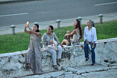 3 of 4 Funny Faces (Pedestrian Photographer) Tags: women funny faces making four 4 75 percent three fourths generations wall sitting selfie camera tongue tongues abuela grandmother grandma serious cartagena colombia paisas tourists street july ribbet walled city ancient caribbean 2017