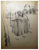 "El quiosco de Canela. Puerta Osario, 1968-69 (""GALBA"") Tags: dibujo papel sevilla arquitectura paisaje lápiz calle kiosco"